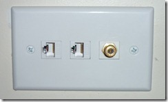 Wallplate with two network jacks and F-type connector