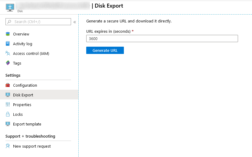 Azure virtual machine disk export
