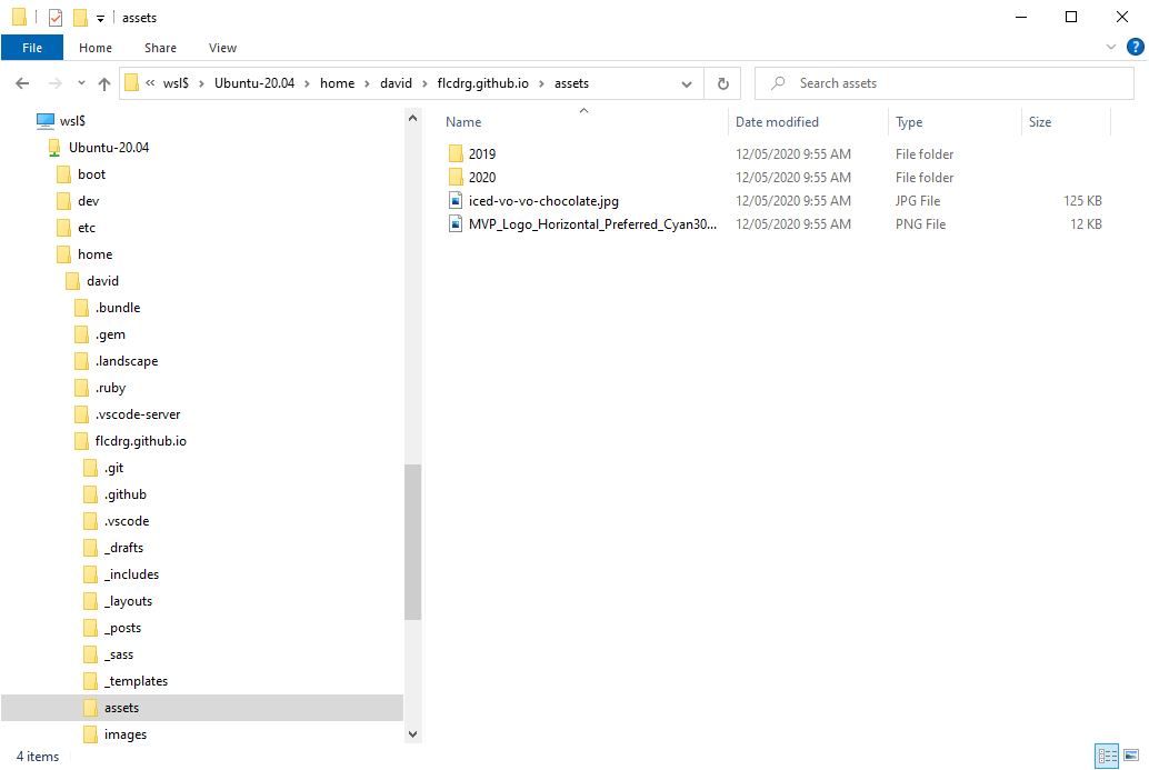 Windows Explorer in git repo in WSL2