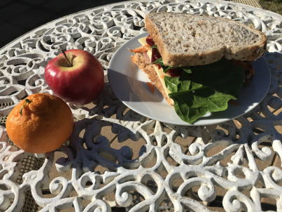 Sandwich with mandarin and apple